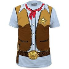 New Cowboy Country Sheriff Badge Gun Vest Bandana Costume T-shirt top adult Tee