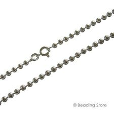 925 Sterling Silver 2.5mm Bead Ball Link Chain Necklace Bolt Clasp All Lengths
