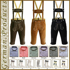Trachten German Bavarian Oktoberfest Men's Wear Kniebund Lederhosen 4Pcs Package