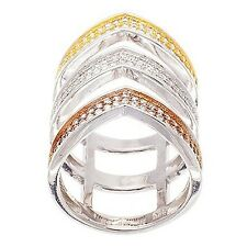 NEW 14K TRI-COLOR GOLD VERMEIL Pave V Style Open CZ Knuckle Ring-Band-925