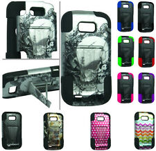 HYBRID RUBBER SKIN + HARD KICKSTAND CASE FOR ZTE Model Cell Phones