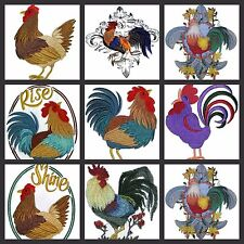 Rooster Collection Embroidered Iron On Patch