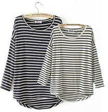 Casual Women Classic Stripes Tee T-shirt Cotton Long Sleeve Blouse Crew Neck Top