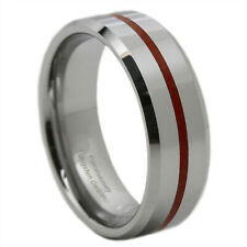 Thin Red Line Tungsten Carbide Ring 8MM Flat Profile with Beveled Edges