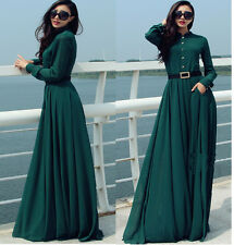 HOT WOMEN GREEN LONG SLEEVE FULL SWEEP CHIFFON MAXI DRESS SHEER GOWN CRUISE