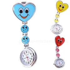 Heart Shape Smile Face Nurse Clip On Brooch Hanging Pocket Watch Fobwatch PHNG