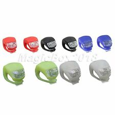 New 2x Bicycle Cycling LED Frog Front Rear Flash Light Warning Lamp GEL Silicone