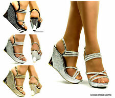 WOMEN  HIGH HEEL DIAMANTE SILVER GOLD BLACK PARTY BRIDAL WEDGES SANDALS SIZE