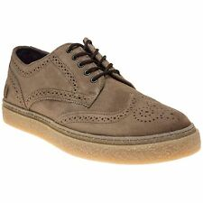 New Mens Fred Perry Natural Davies Drakes Suede Shoes Brogue Lace Up