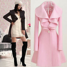Fashion Womens Slim WOOL Warm Long Coat Jacket Trench Windbreaker Parka Outwear