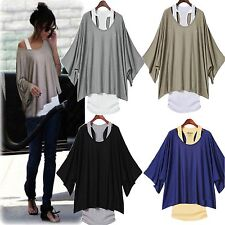 New Fashion Sexy Womens Casual Loose Tops Batwing Blouse T-shirt +Tank Vest 2PCS