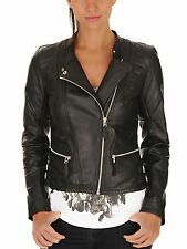 Womens Biker Cozy Quilted Custom Made Real Lamb Leather Jacket For Ladies WJ-15