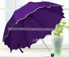 Women Lady Flouncing Dome Parasol Sun Rain Folding Umbrella 11Colors