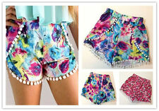 Hot sale Ladies High Waisted Pom Pom Tassel Beach Gym Shorts CA WB