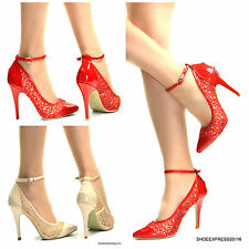 WOMENS NEW!SEXY HIGH GLOSS WITH LACE COMBINATION POINTY MIDDLE HIGH HEEL 3-8