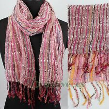 Hollow Out Color metallic Netted fringed  long Scarf Shawl Mantilla Wrap New