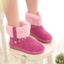 Plus Size Suede Fur Trim Womens Trendy Studded Flat Casual Winter Warm Boots