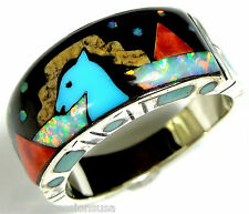 Mulicolor Inlay Turquoise & Fire Opal Horse 925 Sterling Silver Men's Ring