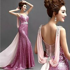 New Sexy Deep V Formal Wedding Prom Party Bridesmaid Evening Ball Gown Dress 229