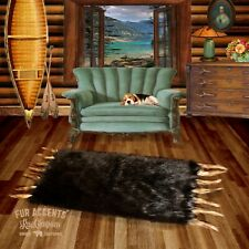 FUR ACCENTS Brown Buffalo Bearskin Rectangle Faux Fur Area Pelt Rug with Tails