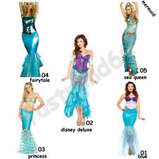 Fancy Adult Disney Wet Look Princess Mermaid Halloween Costume Cosplay Outfit