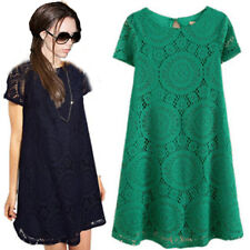 Victoria Beckham Style Retro Tunic Women Short Sleeve Lace Dress Skater 5 colors
