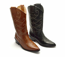 Womens Ladies Cowboy Boots Leather Western Riding Cuban Black Tan Shoe Size New