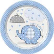 "BABY SHOWER UMBRELLAPHANTS BLUE BOY PARTY SUPPLIES 7"" PAPER PLATES CHOOSE AMOUNT"