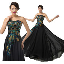 Black Long Peacock Applique Evening Prom Cocktail Party Formal Homecoming Dress
