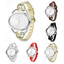 Womens Fashionable Hot Oval Slim Faux Leather Analog Quartz Bracelet Wrist Watch