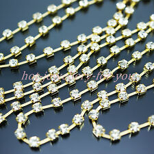 CRYSTAL DIAMANTE RHINESTONES CUP GOLD CHAIN SEWING TRIM 3mm 4mm 5mm FREE POST
