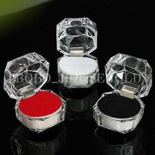12 Clear Acrylic Crystal Ring Box Earring Storage Display Case Organizer Jewelry
