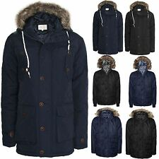 MENS QUILTED PADDED JACKET WARM COAT BRAVESOUL MILITIARY PARKA FUR HOODED WINTER