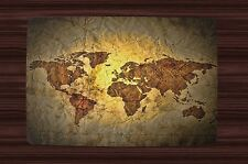 Placemat Set 2,4,6 or 8 Table Place Mats ~ World Map Parchment Look