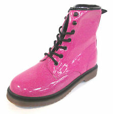 Girls Pink Glitter Lace Up Casual Boots Style 26 347 0096