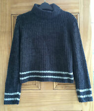 EX CHAINSTORE NEW GIRLS LADIES GREY STRIPE CHENILLE JUMPER AGE 7-12 YEARS BNWOT