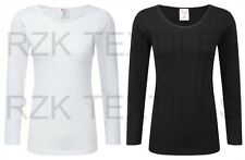 Ladies Thermal Long Sleeve Top, Black White Warm Winter Baselayers, Size 10-24