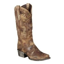 Lane Western Reign Womens Cowboy Boots Distressed Brown LB0120C