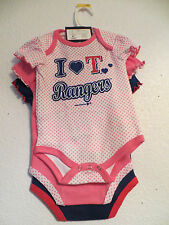 Texas Rangers one piece bodysuit baby girl blue pink white 2m, 3/6m, 6/9m, 18m