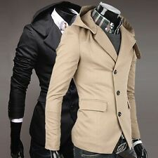 CHEAP Men's Slim Fit 3 Buttons Blazers Hooded Hoody Coat Suits Jackets Size M L