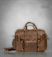 NEW Men's Vintage Premium Genuine real Leather Briefcase Messenger Bag UK Brown