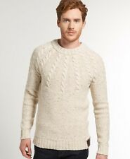 New Mens Superdry Propeller Knit Oatmeal Beige
