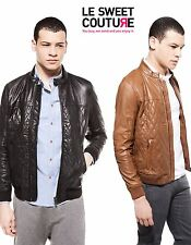 BERSHKA (ZARA GROUP) MAN QUILTED LEATHER JACKET CAMEL OR BLACK NWT R.3920/208