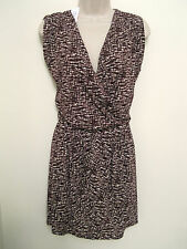NWT BANANA REPUBLIC Women's Burgundy Patterned Wrap Top Dress Size S,M