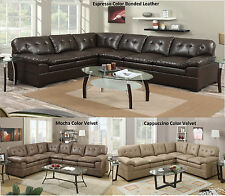 New Modern Sectional Sofa Couch Contemporary Reversible Loveseat Leather /Velvet