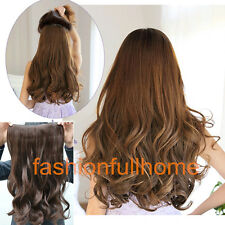 One Piece Clip in Synthetic Human Hair Extensions Long Wavy Curly Hair piece