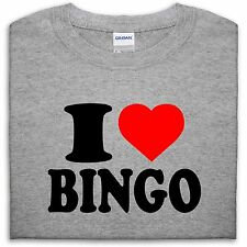 I LOVE HEART BINGO T SHIRT TOP FUNNY GIFT MENS WOMEN FULL HOUSE FAT LADIES LUCKY