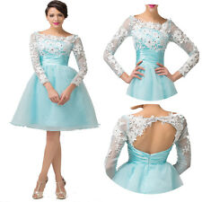 30% Long Sleeve Homecoimng Bridal Gown Ball Evening PROM Wedding Cocktail Dress