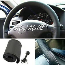 DIY Leather Car Auto Steering Wheel Cover With Needles and Thread