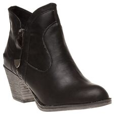 New Womens Rocket Dog Black Sidney Bromley Synthetic Boots Ankle Zip